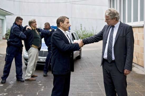 Noch mal gutgegangen: Richy Müller (l.) beglückwünscht Filip Peeters