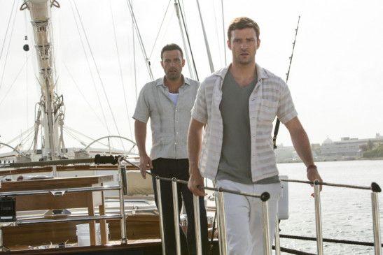 Schöne Jacht! Justin Timberlake (v.) mit Ben Affleck
