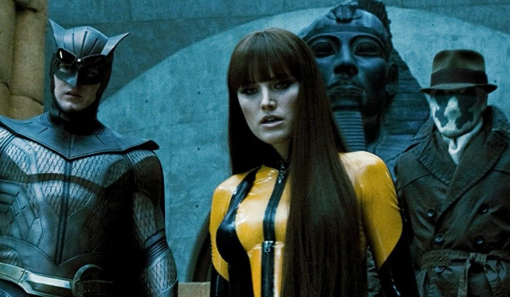 Unangenehme Gegner: Nite Owl (Patrick Wilson), Silk Spectre (Malin Akerman) und Rorschach (Jackie Earle Haley, v.l.)