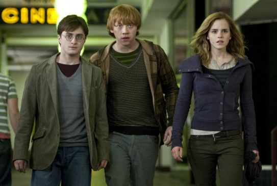 Flucht ins normale London: Daniel Radcliffe, Rupert Grint und Emma Watson