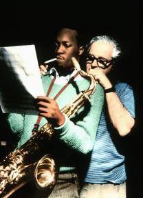 Jazzgeschichte: Tenorsaxophonist John Coltrane und Produzent Alfred Lion bei der Arbeit