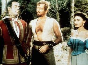 Drückt die Halskrause ein bisschen? John Payne und Donna Reed befragen Gerald Mohr