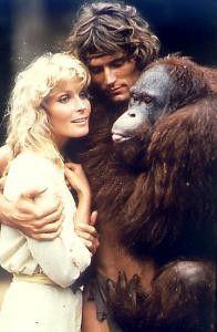 Trautes Familienbeisammensein im Dschungel: Jane,  Tarzan, Orang Utan