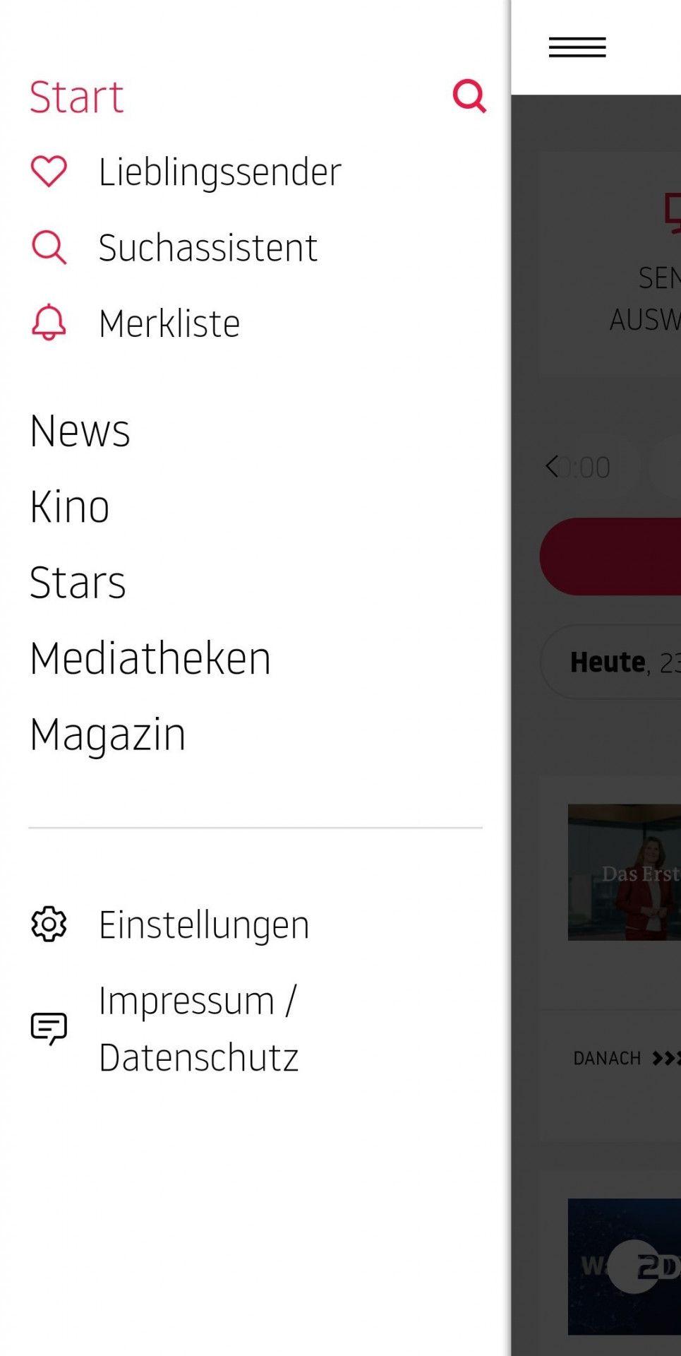 Das Themen-Menü der App lässt sich auf dem Smartphone bequem mit einem Klick öffnen oder auch ganz einfach von links nach rechts auf den Bildschirm ziehen.