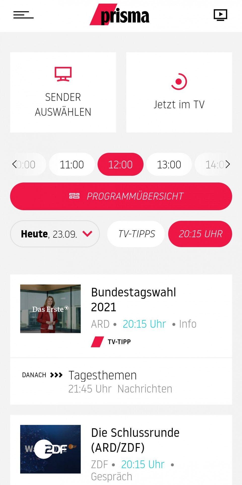 Einfach gestaltet und intuitiv zu bedienen: Die Startseite der prisma-TV-App.