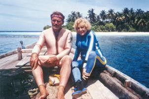 Leni Riefenstahl bei den Dreharbeiten zu ihrem Unterwasserfilm