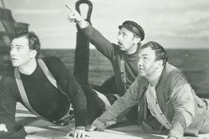 Dort ist der Klabautermann! John Wayne, John Qualen und Thomas Mitchell (v.l.)