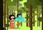 Da war die Welt noch in Ordnung: Sita (l.) und ihr Göttergatte Rama spazieren verliebt im Wald