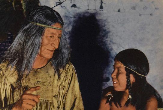Chetoga (Chief Yellow Robe, l.), Stammeshäuptling der Ojibwe, und sein Sohn Cheeka (Cheeka)