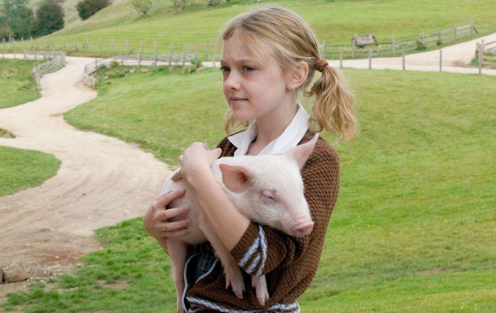 Noch mal Schwein gehabt: Wilbur mit Dakota Fanning