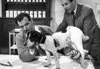 Dr. Vlimmen (Bernhard Wicki, l.) bemüht sich um einen verletzten Hund