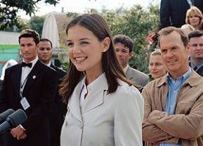 Ja, ich bin die Tochter des Präsidenten! Katie Holmes und Michael Keaton (r.)