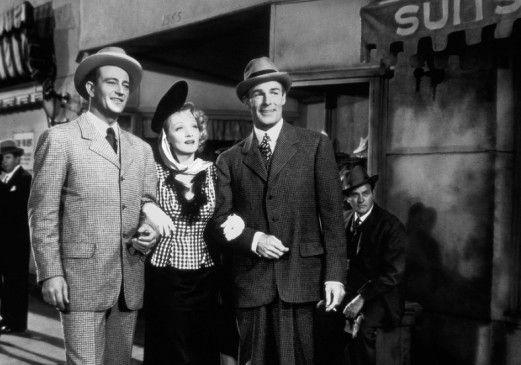 Die beiden Freunde und ihre große Liebe - John Wayne, Marlene Dietrich und Randolph Scott (r.)
