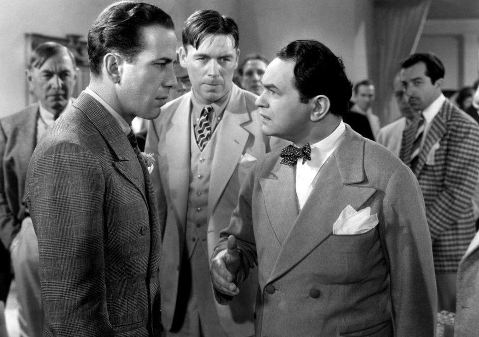 Boxtrainer Silver (Harry Carey, l.) will Ward (Wayne Morris, M.) vor falschen Ratschlägen von Manager Nick (Edward G. Robinson) schützen