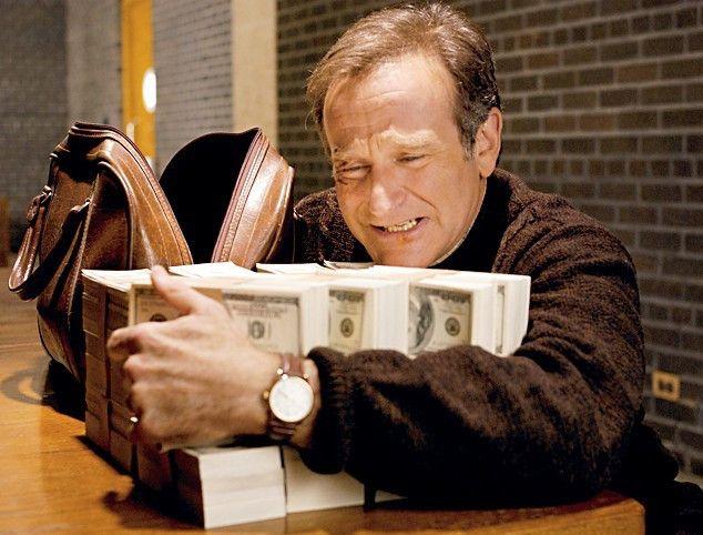 Whow, wie bekomme ich das bloß alles in die Brieftasche? Robin Williams