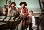 Auf zur Schatzsuche! Long John (Robert Newton, l.), George (Ralph Truman) und der kleine Jim (Bobby Driscoll)