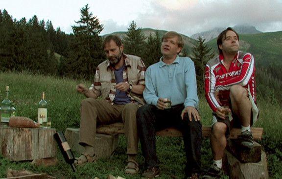 Noch sind sie fröhlich: Stefan Kurt, Justus von Dohnányi und Jan Josef Liefers (v.l.).