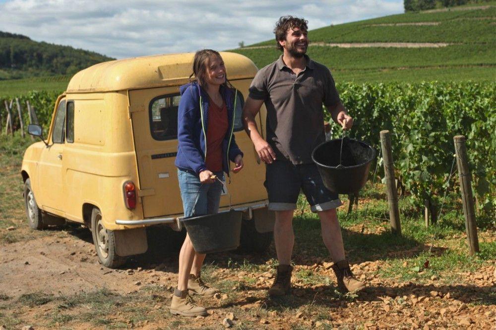 Juliette (Ana Girardot) und Jean (Pio Marmai) nehmen zunehmend gut gelaunt die Weinlese in Angriff.
