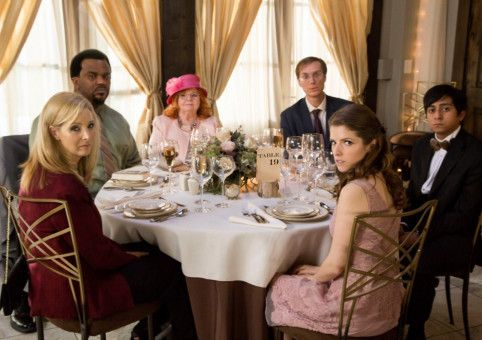 Bina (Lisa Kudrow, links), Jerry (Craig Robinson), Jo (June Squibb), Walter (Stephen Merchant), Eloise (Anna Kendrick) und Renzo (Tony Revolori) wurden an einen Katzentisch platziert.