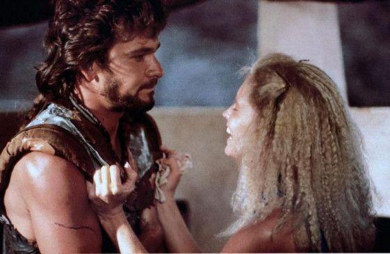"""Ich werde dir helfen! Patrick Swayze mit seiner Ehefrau Lisa Niemi in """"Steel Dawn"""""""