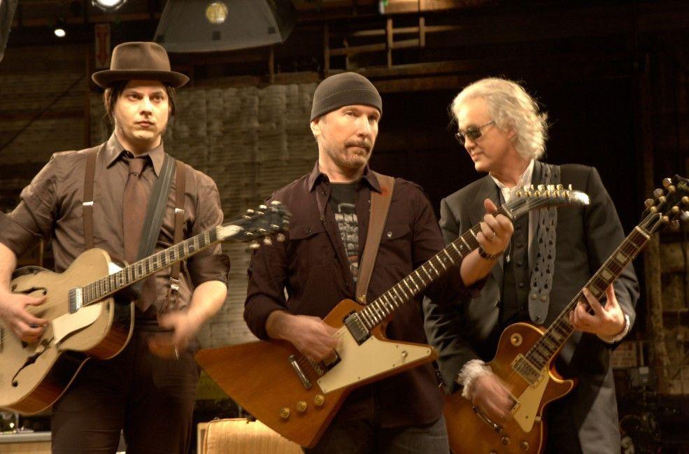 Drei Gitarren-Giganten vereint: Jack White, The Edge und Jimmy Page (v.l.)