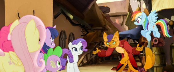 Rarity (Mitte) und ihre Ponyfreunde vertrauen dem zwielichtigen Kater Capper (Gil Ofarim).
