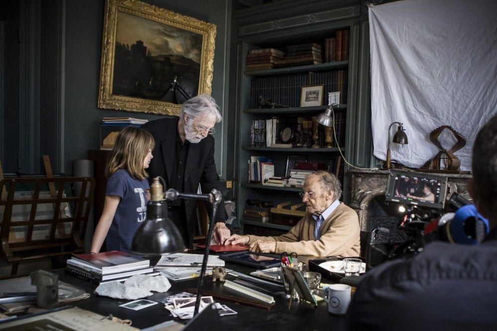 Am Set: Regisseur Michael Haneke (Mitte) mit Fantine Harduin und Jean-Louis Trintignant.