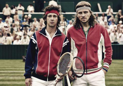 Zwei Legenden, die sich auch in der fiktionalen Variante ihres Lebens und des vielleicht größten Tennis-Matches aller Zeiten sehen lassen können - vor allem auf der großen Leinwand. Shia LaBeouf (links) als John McEnroe und Sverrir Gudnason als Björn Borg.