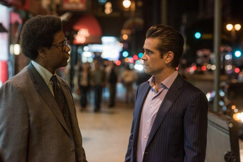 Als sein Arbeitgeber und Mentor stirbt, heuert Roman (Denzel Washington, links) beim karriereversessenen Anwalt George Pierce (Colin Farrell) an.