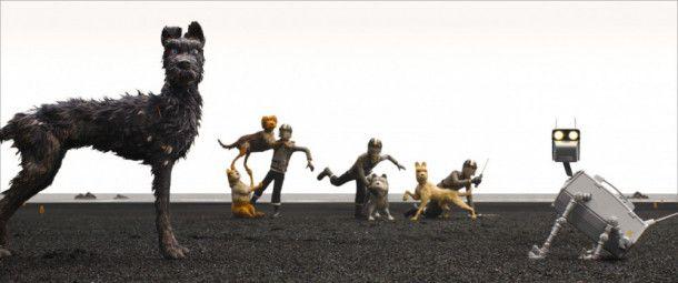 Die Menschen aus Megasaki schicken sogar Roboterhunde nach Trash Island, um Chief (links) und Konsorten auszuschalten.