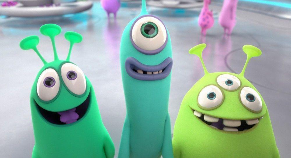 Die drei Aliens Mog (Flemming Stein, von links), Nag (Tim Grobe) und Wabo (Oliver Böttcher) enden per Bruchlandung auf der Erde.