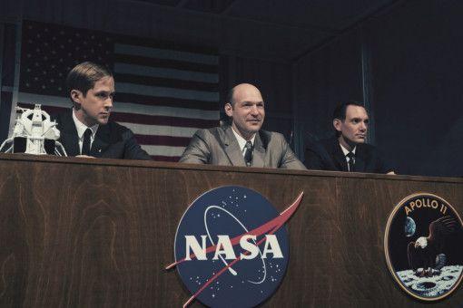 Die Astronauten der Apollo-11-Mission (von links): Neil Armstrong (Ryan Gosling), Buzz Aldrin (Corey Stoll) und Mike Collins (Lukas Haas).