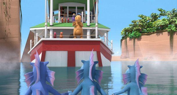 Oskar (links), Kokosnuss und Kokosnuss' Vater Magnus treffen zum ersten Mal auf Wasserdrachen.