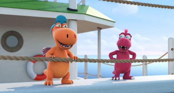 Der kleine Drache Kokosnuss (links) und sein Freund, der Fressdrache Oskar, freuen sich auf das Ferienlager.