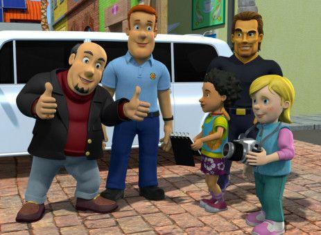 Mandy und Sarah sind schwer beeindruckt: Regisseur Don Sledgehammer will einen Film mit Feuerwehrmann Sam und Flex Dexter drehen.