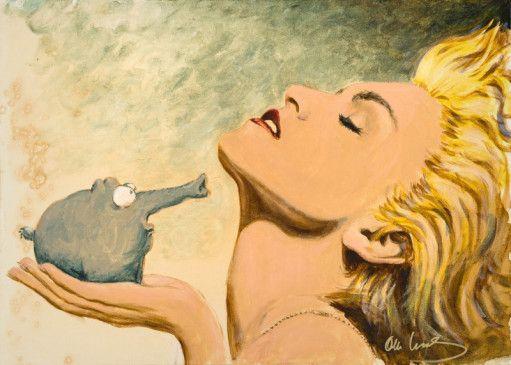 """Vielfältiger Einsatz: Wenn der Ottifant eine Blondine trifft, wird der Rüssel schnell zum Föhn. (Noch bis zum 17. Februar zeigt das Museum für Kunst und Gewerbe in Hamburg das bildnerische Werk von Otto Waalkes """"Otto – die Ausstellung"""".)"""