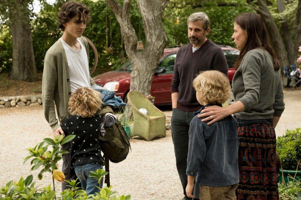 Nic (Timothée Chalamet, links) besucht seinen Vater David (Steve Carell) und dessen Frau Karen (Maura Tierney), die zwei gemeinsame Kinder haben.