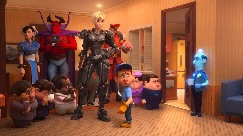 """Das Spiel """"Sugar Rush"""" ist kaputt und soll vom Strom genommen werden. Felix (vorne) versucht, den Spielfiguren ein neues Heim zu organisieren."""