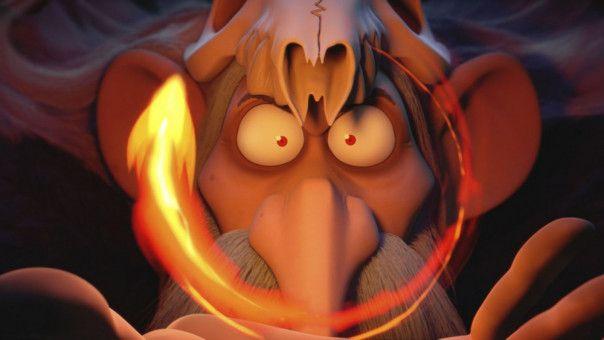 Der Druide Dämonix spielt mit dem Feuer.