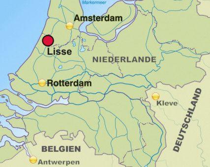Der Keukenhof befindet sich in Lisse, im westlichen Teil der Niederlande.