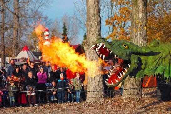 Ein feuerspeiender Drache beim Albrechts-Burgfest.