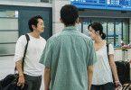 Jong-su (Yoo Ah-in) ist überrascht, als Hae-mi (Jun Jong-seo, rechts) ihm Ben (Steven Yeun, links) am Flughafen vorstellt.