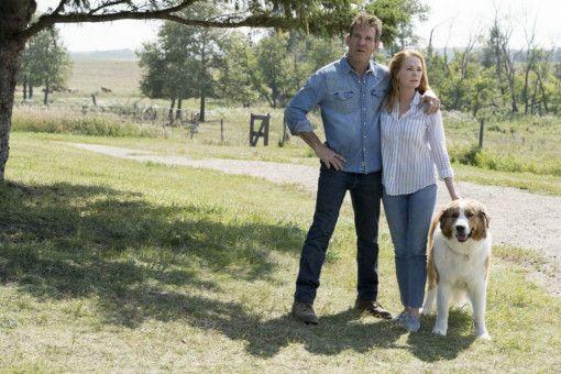 """Das Traumpaar Ethan (Dennis Quaid) und seine Jugendliebe Hannah (Marg Helgenberger) leben mit """"Bosshund"""" Bailey glücklich auf ihrer Farm."""