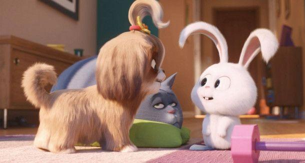 Die mutige Daisy (links) will von Chloe (Mitte) und Snowball wissen, was es mit Captain Snowball auf sich hat, dem Superhelden-Alter-Ego des weißen Kaninchens.