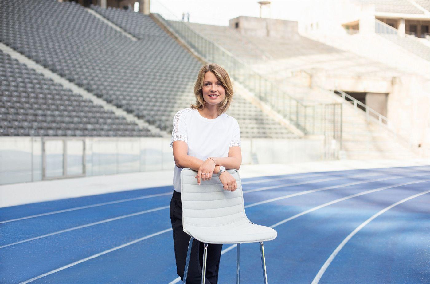 """""""Sportschau""""-Moderatorin Jessy Wellmer präsentiert die """"Finals Berlin 2019"""" in der ARD."""