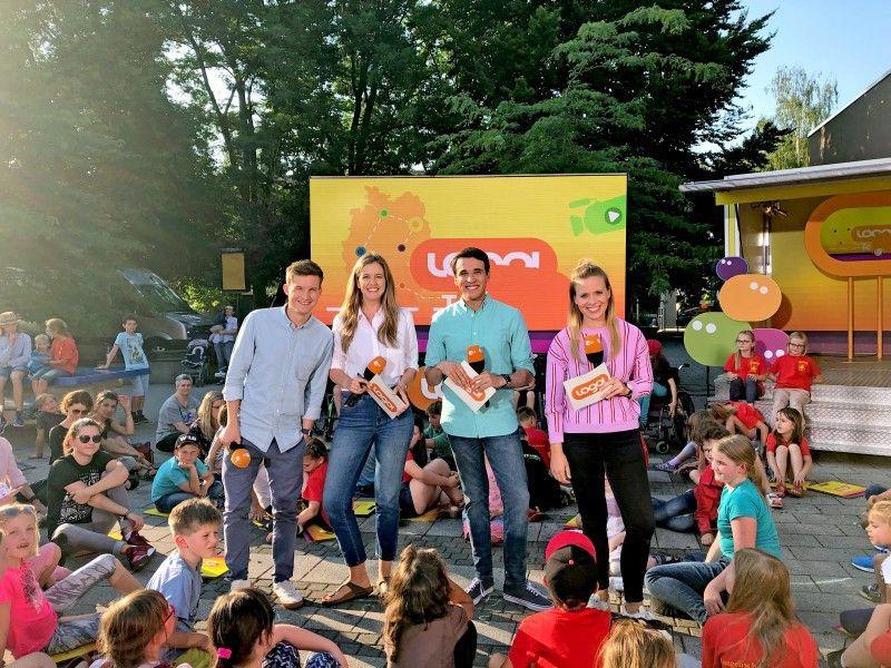 Die Sommertour 2019: Tim Schreder, Jennifer Sieglar, Sherif Rizkallah und Linda Joe Fuhrich (von links) moderieren logo! täglich im Wechsel.