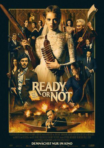 """Samara Weaving (Mitte) kämpft in """"Ready or Not"""" ums nackte Überleben."""
