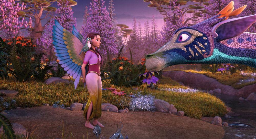 Surah und ihr Papageienadler Kuack begegnen einem magischen Drachen.