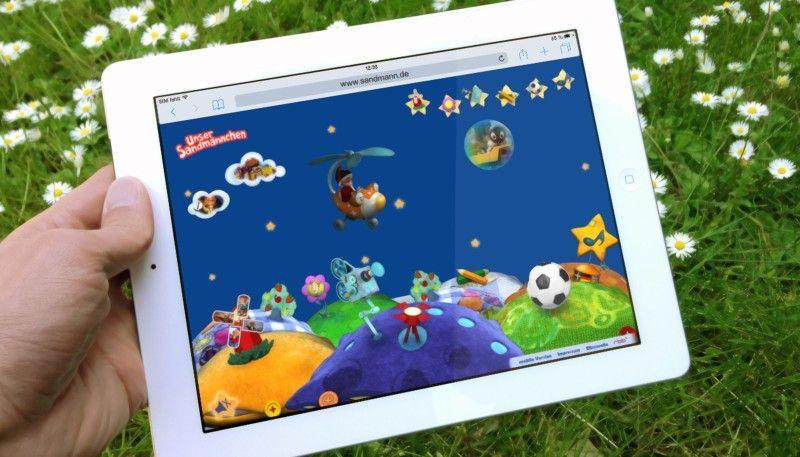 Das Sandmännchen goes online: Die Webseite www.sandmann.de ist kinderfreundlich gestaltet und kommt ganz ohne Text aus.