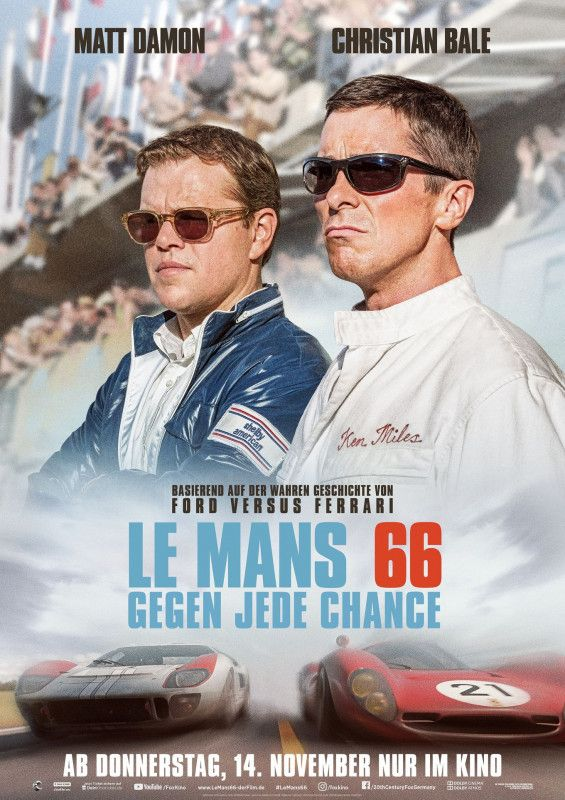 """In """"Le Mans 66 - Gegen jede Chance"""" haben Matt Damon und Christian Bale nur ein Ziel: Sie wollen den Ford-Konkurrenten Ferrari bei einem Autorennen besiegen."""